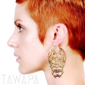 Rose Gold Plated Tawapa Sugar Skull Earrings